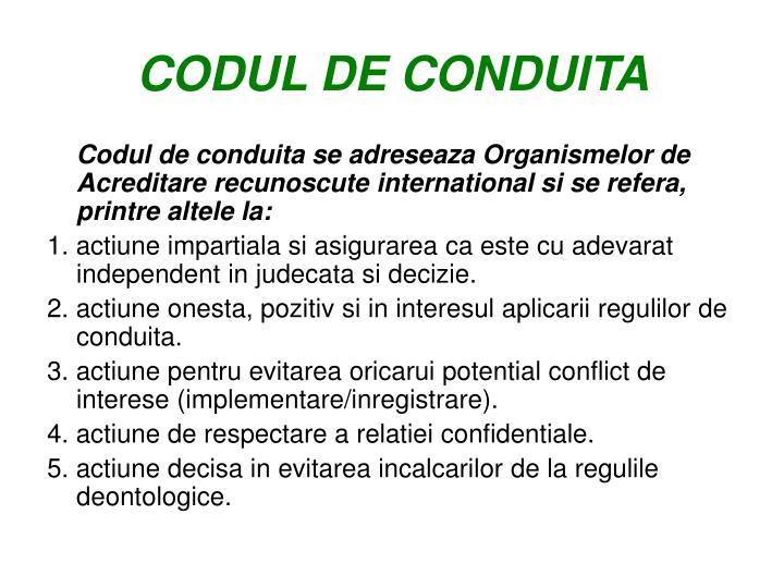CODUL DE CONDUITA