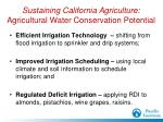 sustaining california agriculture agricultural water conservation potential