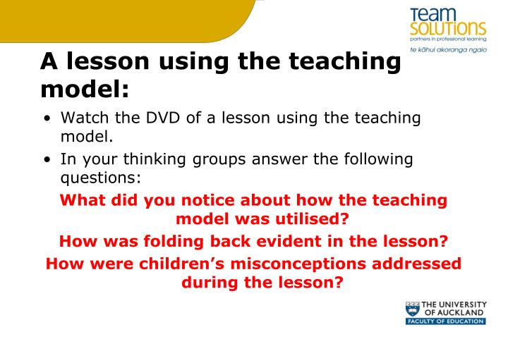 A lesson using the teaching model: