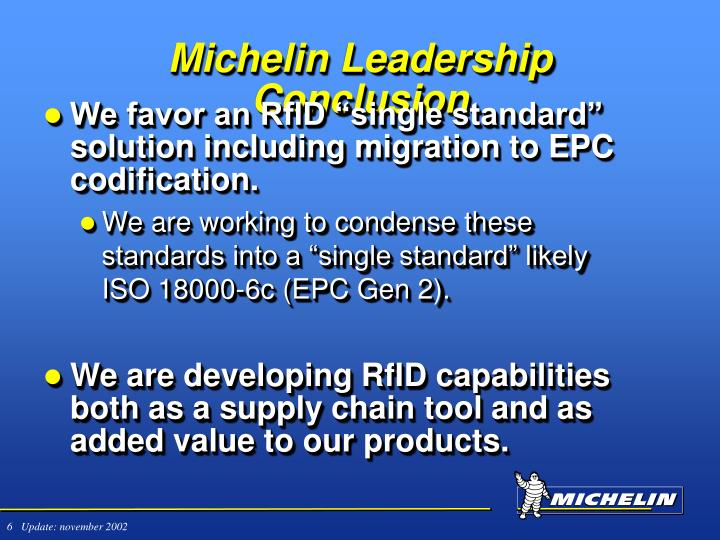 Michelin Leadership Conclusion
