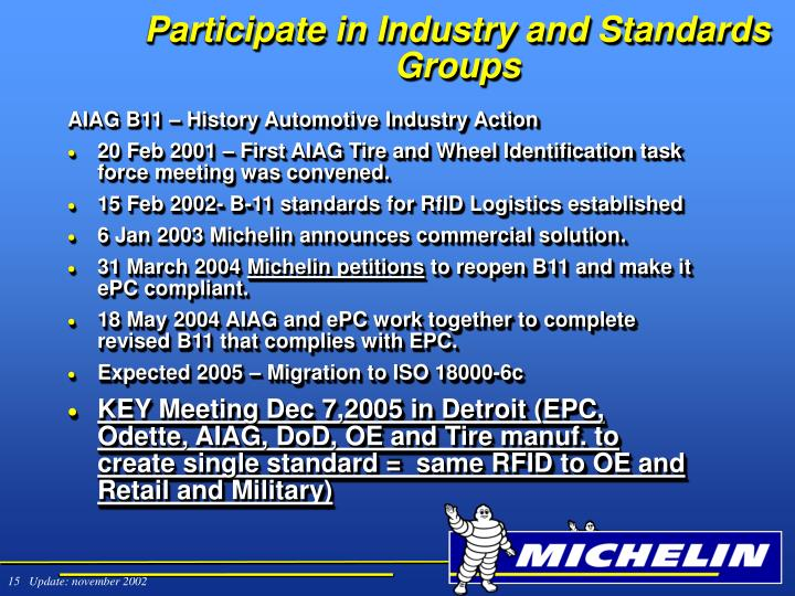 Participate in Industry and Standards Groups