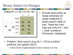 binary search on ranges