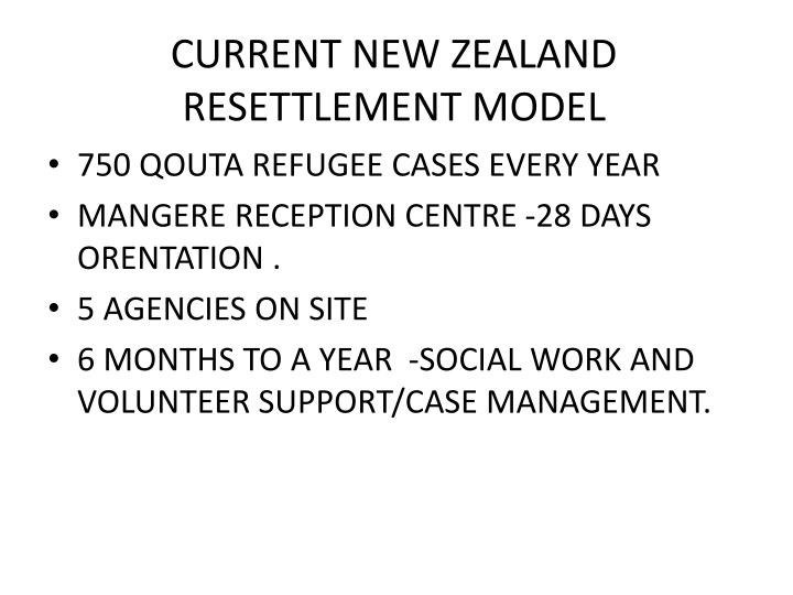 CURRENT NEW ZEALAND RESETTLEMENT MODEL