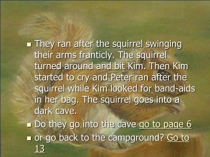 They ran after the squirrel swinging their arms franticly. The squirrel turned around and bit Kim. Then Kim started to cry and Peter ran after the squirrel while Kim looked for band-aids in her bag. The squirrel goes into a dark cave.
