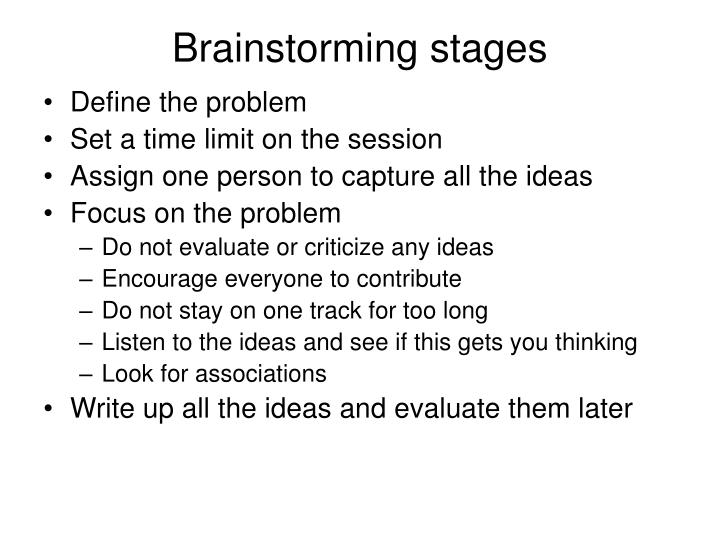 Brainstorming stages