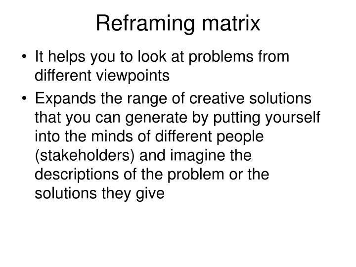 Reframing matrix