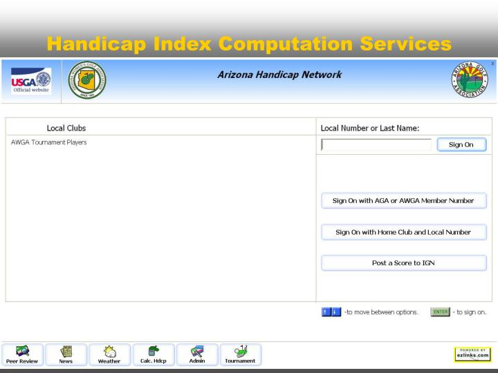 Handicap Index Computation Services