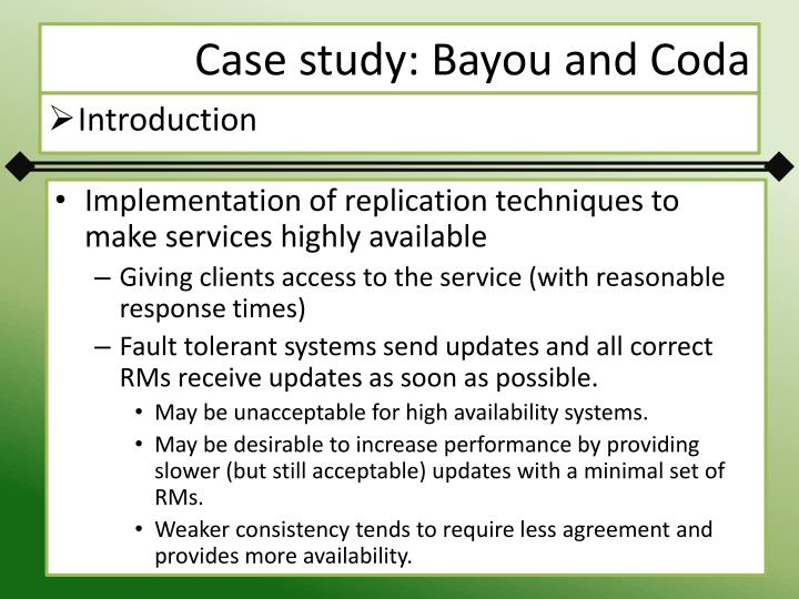 Case study: Bayou and Coda
