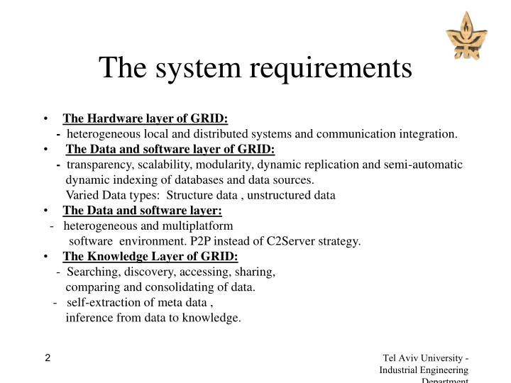 The system requirements