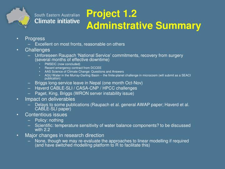 Project 1.2 Adminstrative Summary