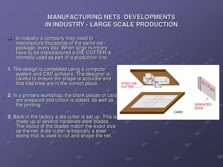 MANUFACTURING NETS /DEVELOPMENTS