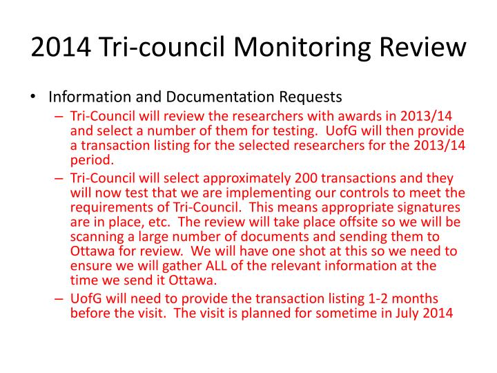 2014 Tri-council Monitoring Review