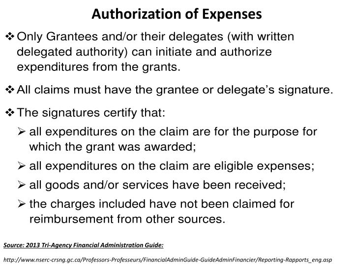 Authorization of Expenses