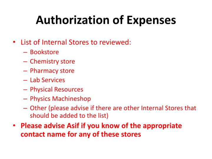 Authorization of Expenses