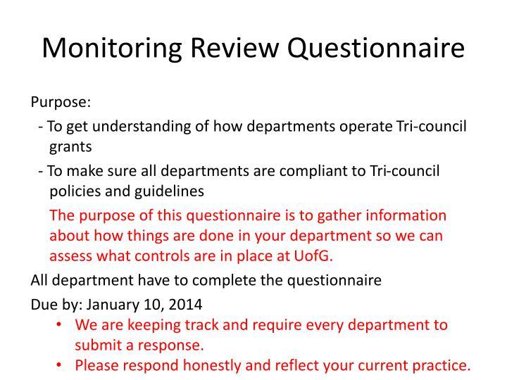 Monitoring Review Questionnaire