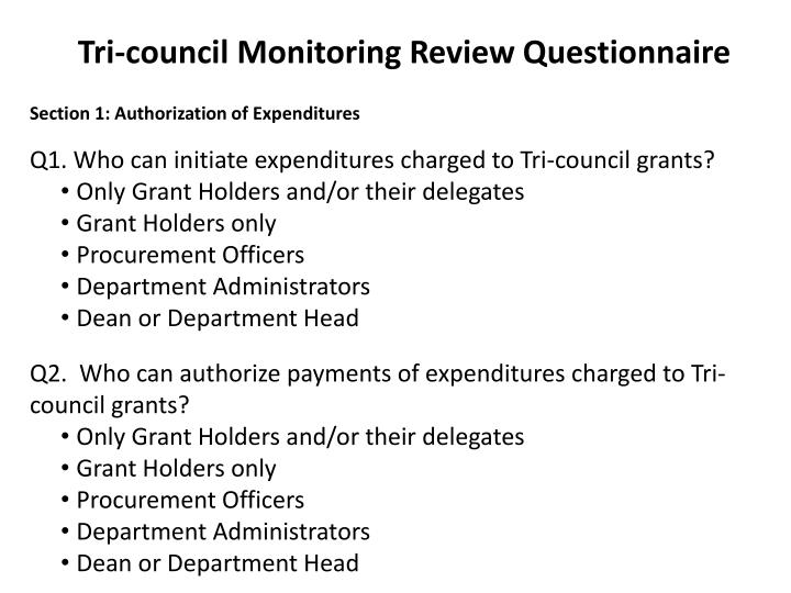 Tri-council Monitoring Review Questionnaire