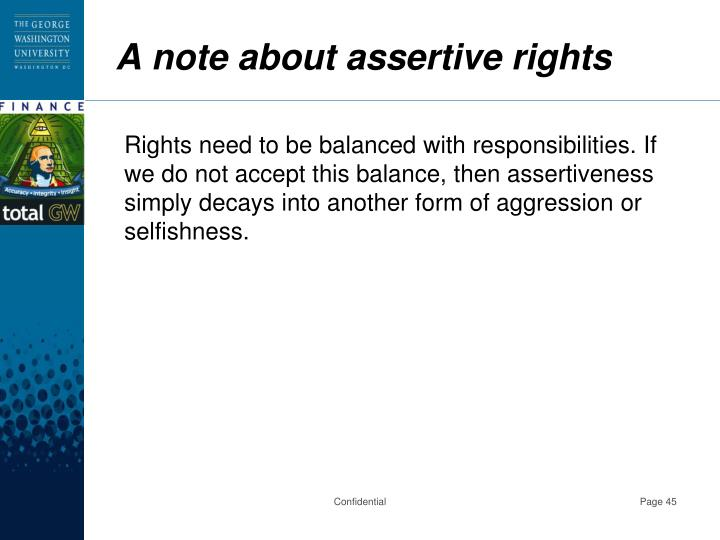 A note about assertive rights