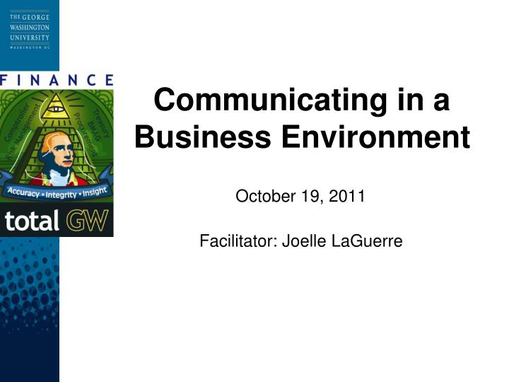 Communicating in a business environment