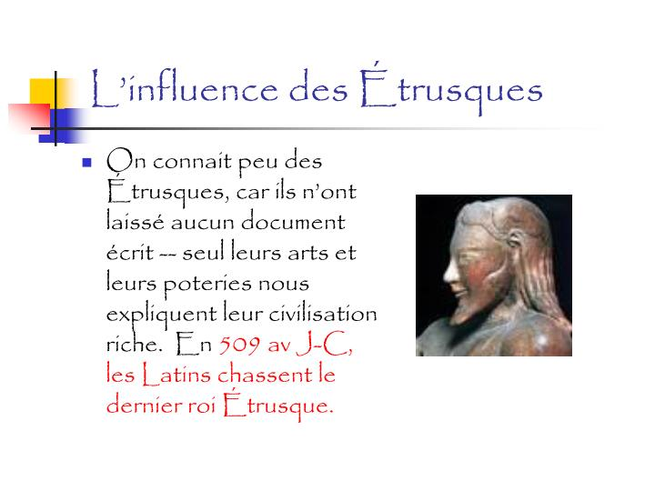 L'influence des Étrusques