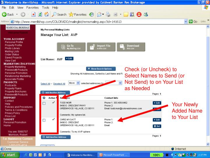 Check (or Uncheck) to Select Names to Send (or Not Send) to on Your List as Needed