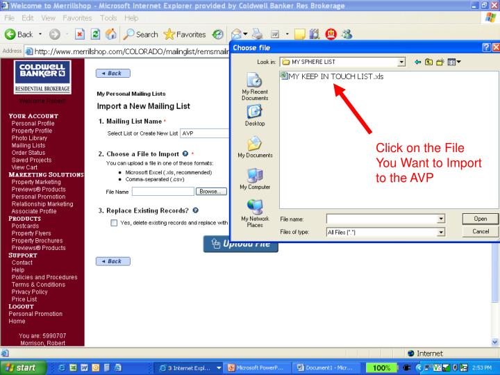 Click on the File You Want to Import to the AVP