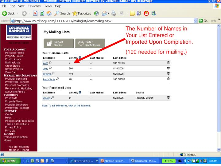 The Number of Names in Your List Entered or Imported Upon Completion.