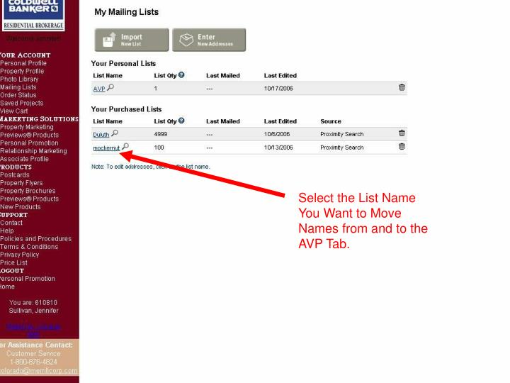 Select the List Name You Want to Move Names from and to the AVP Tab.