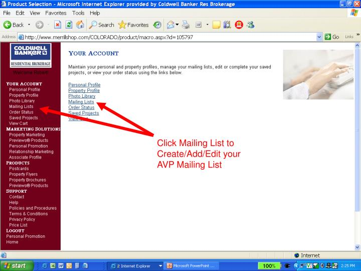 Click Mailing List to Create/Add/Edit your AVP Mailing List