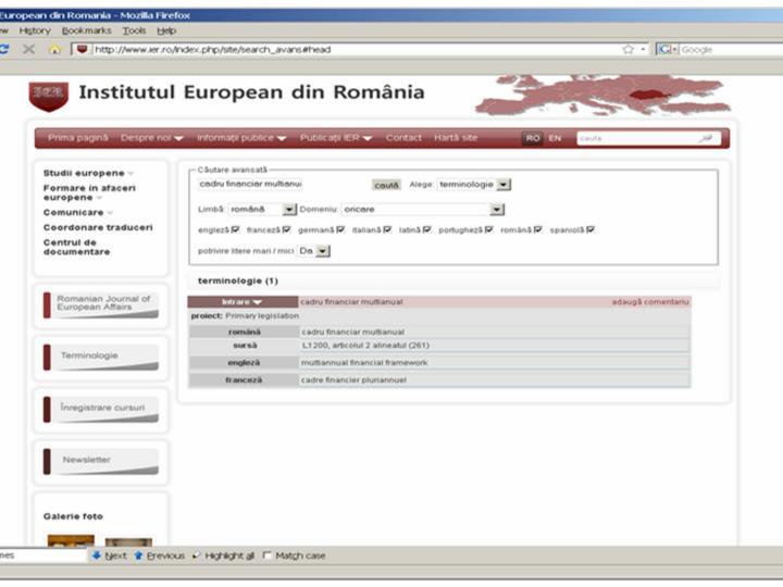 Intrarea pe site-ul IER