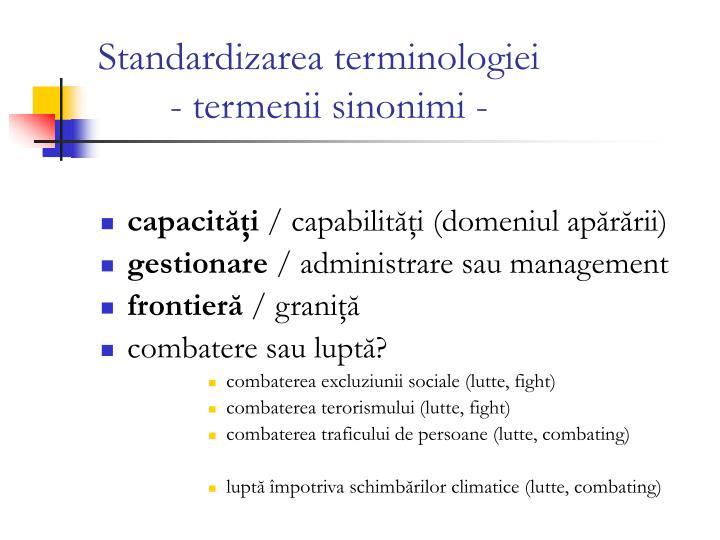 Standardizarea terminologiei