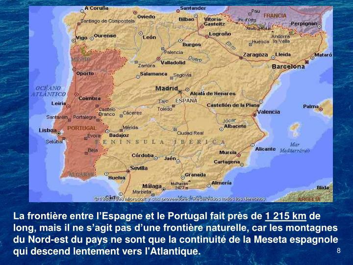 La frontière entre l'Espagne et le Portugal fait près de