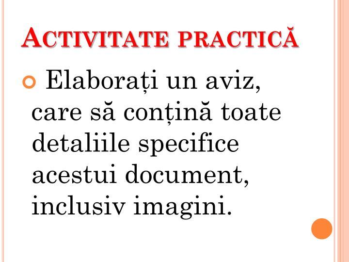 Activitate practică
