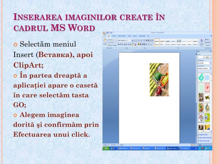 Inserarea imaginilor create în cadrul MS Word