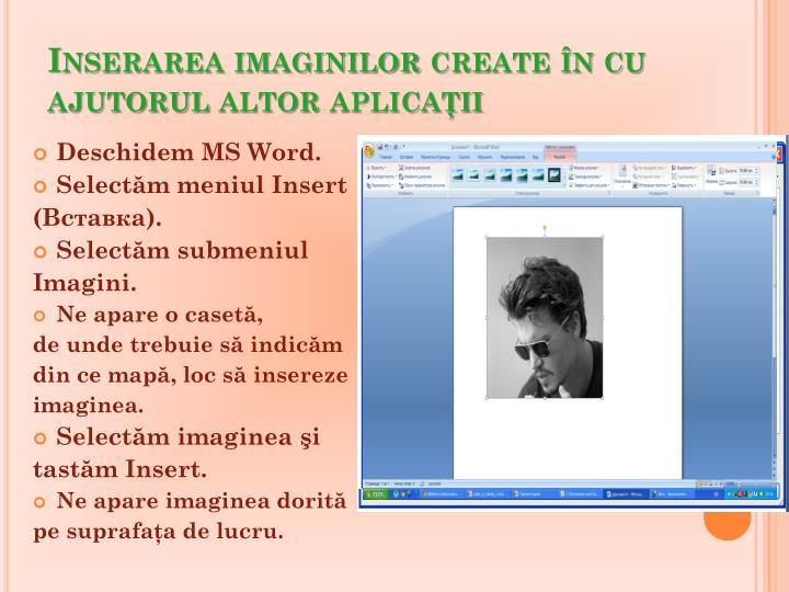 Inserarea imaginilor create în cu ajutorul altor aplicaţii