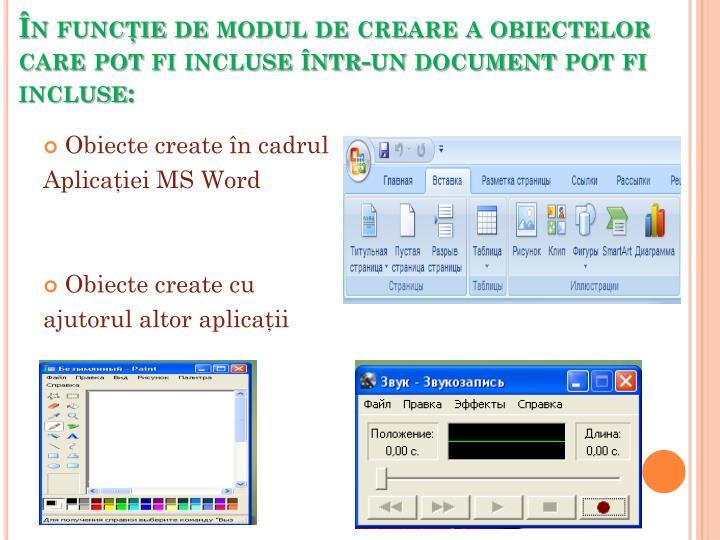 În funcţie de modul de creare a obiectelor care pot fi incluse într-un document pot fi incluse: