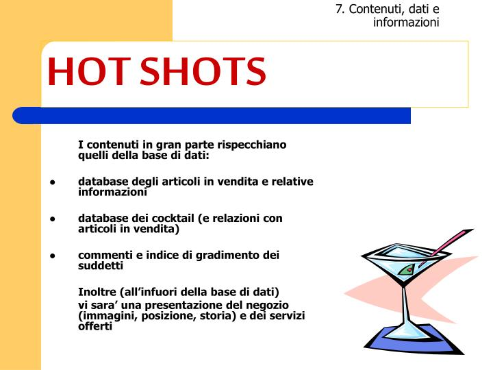 7. Contenuti, dati e informazioni