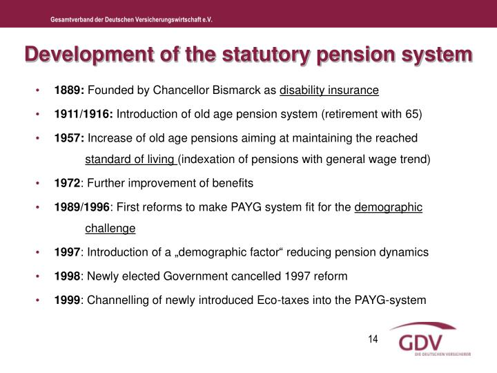 Development of the statutory pension system