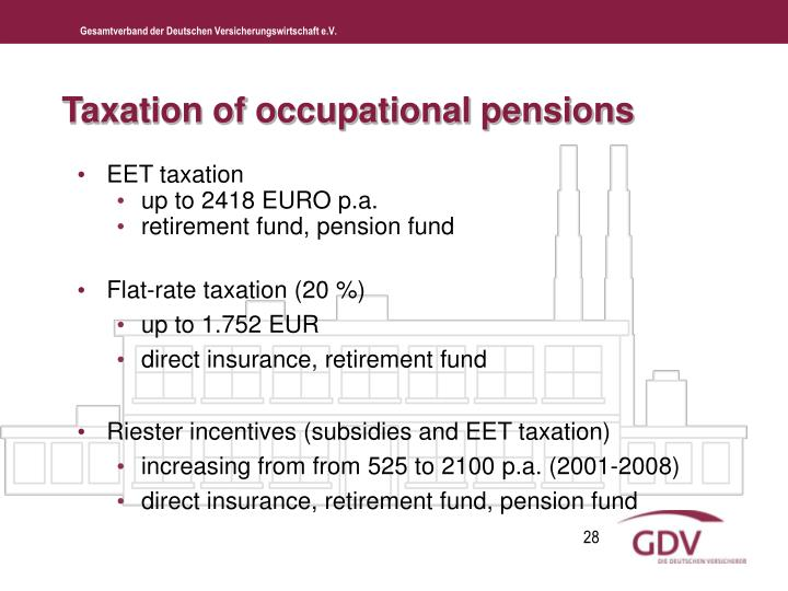 Taxation of occupational pensions