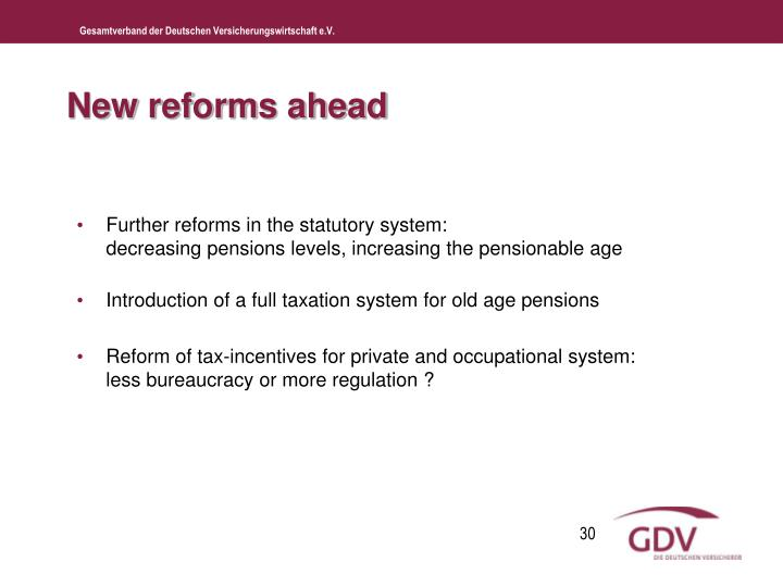 New reforms ahead