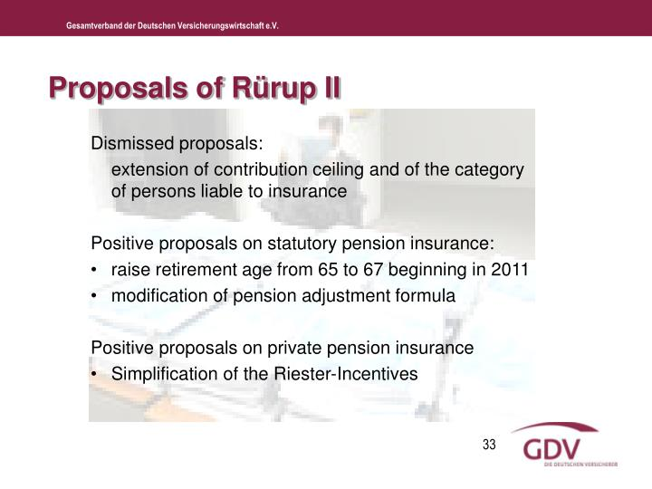 Proposals of Rürup II