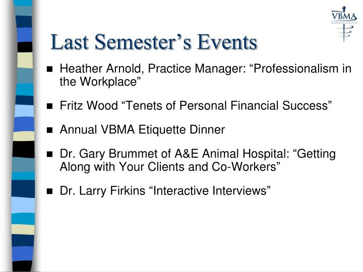 Last Semester's Events
