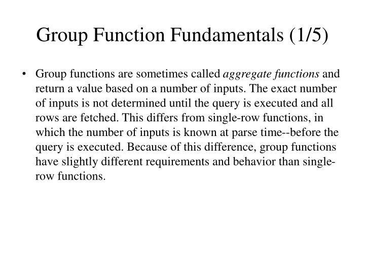 Group Function Fundamentals (1/5)