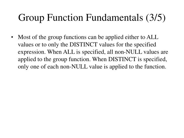 Group Function Fundamentals (3/5)