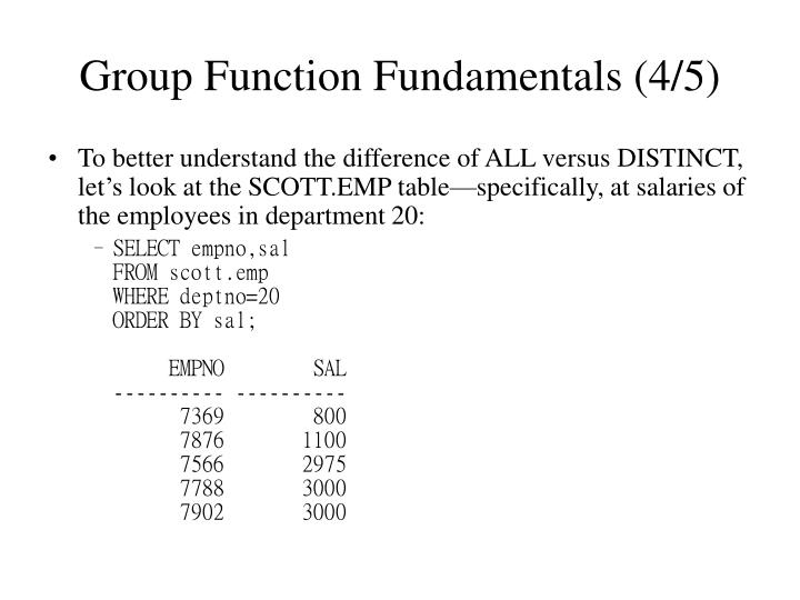 Group Function Fundamentals (4/5)