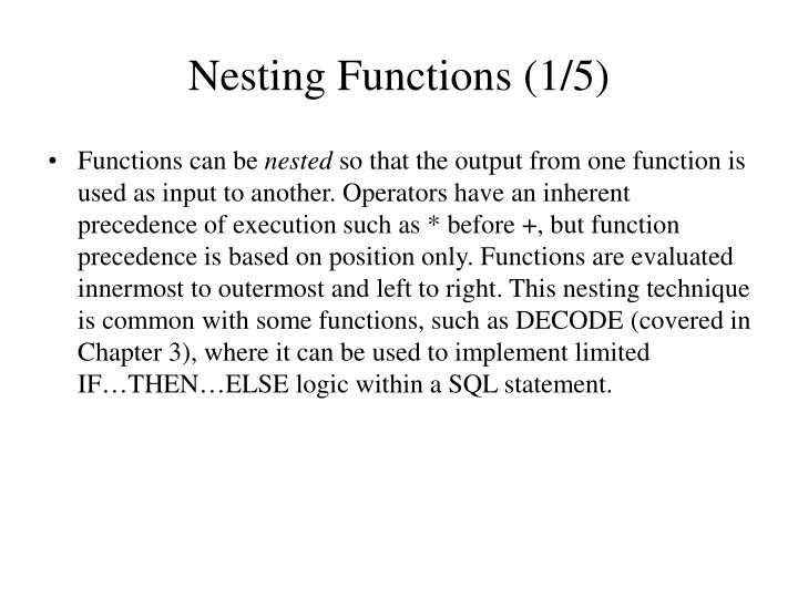 Nesting Functions (1/5)