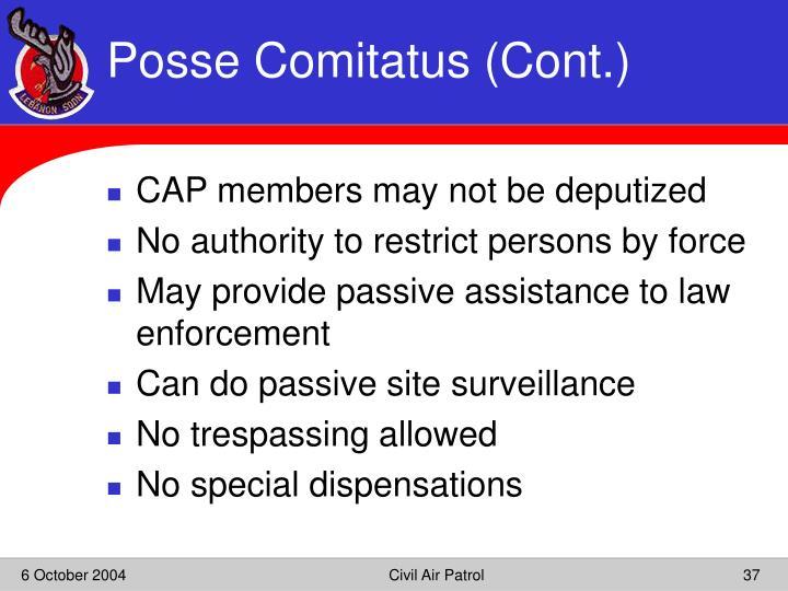 Posse Comitatus (Cont.)