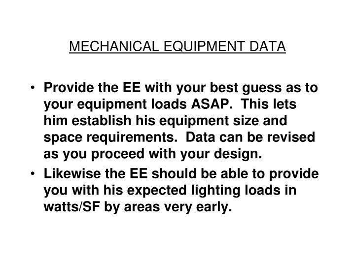 MECHANICAL EQUIPMENT DATA