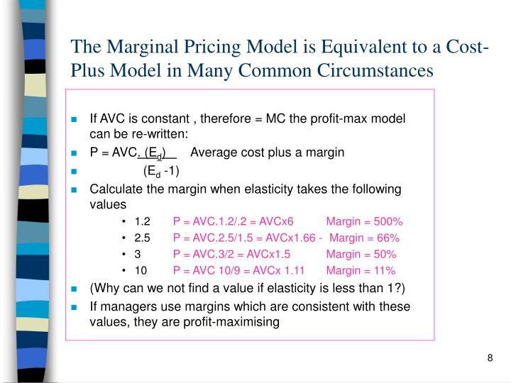 If AVC is constant , therefore = MC the profit-max model can be re-written: