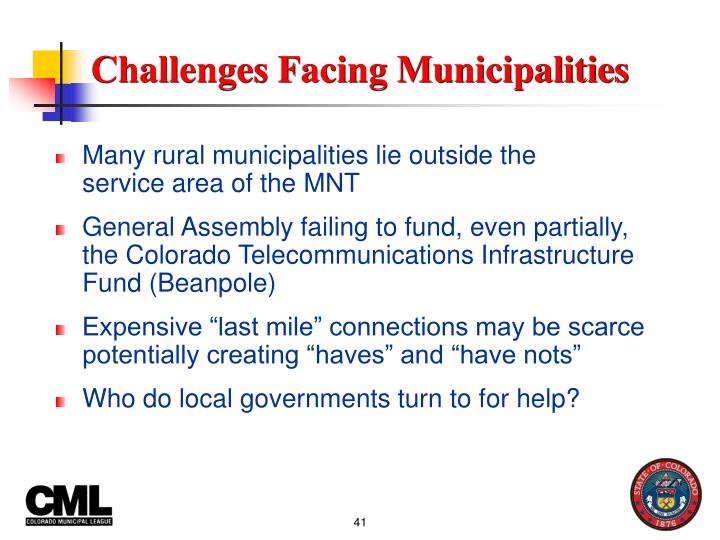 Challenges Facing Municipalities