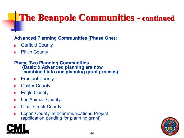 Advanced Planning Communities (Phase One):